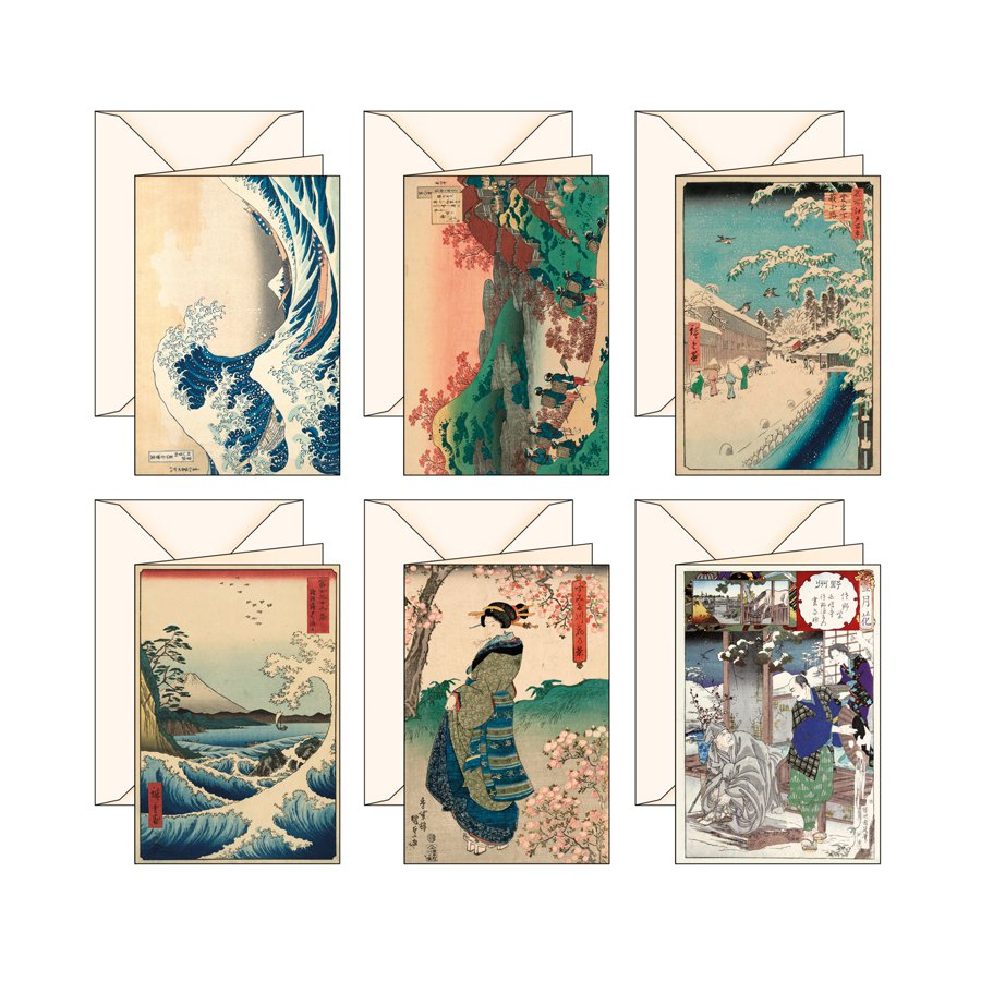 6 BigliettI d'auguri Serie Ukiyo-e