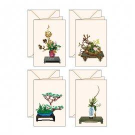 4 Biglietti d'auguri Serie Ikebana
